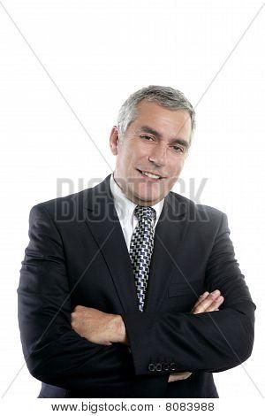 Happy Senior Businessman Smiling Gray Hair