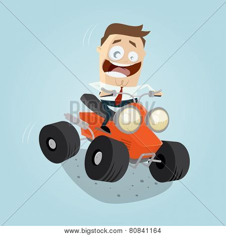 funny cartoon businessman is riding a quad bike