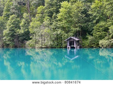Alpine lake with turquoise water