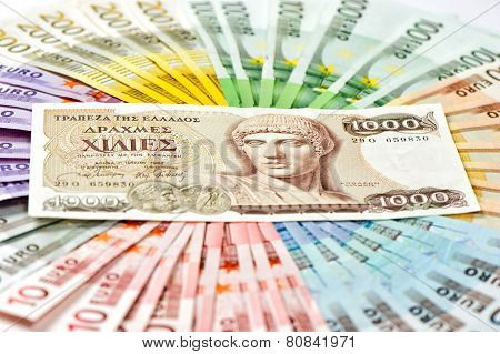 Old Greek Drachma And Euro Cash Banknotes. Euro Crisis Concept