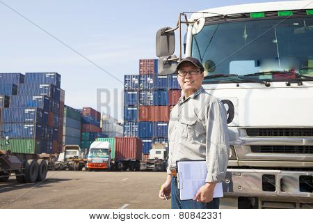 Happy Driver In Front Of Container Truck