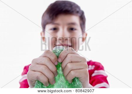 Boy Holding Bubble Wrap.