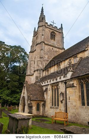 Old church in  Castle Combe village.