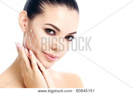 Pretty female against a white background, isolated, copyspace. Antiaging concept