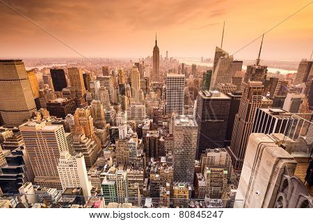 New York City, USA skyline over midtown Manhattan.