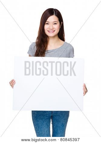 Woman hold with white board
