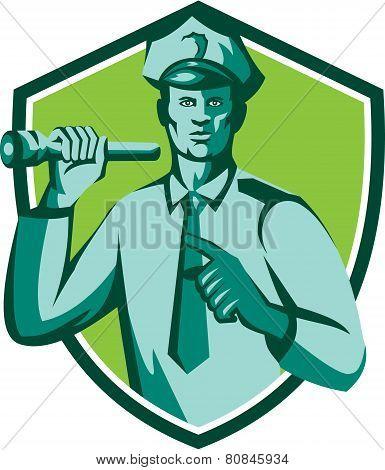 Policeman Flashlight Torch Pointing Shield Retro