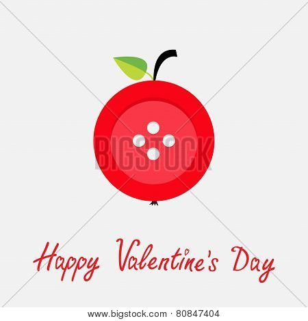 Red Button Apple With Word Love Flat Design Style Happy Valentines Day Card