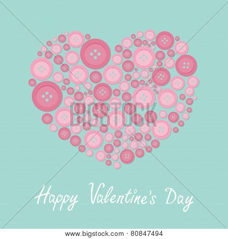 Pink Heart Made From Buttons Love Card Flat Design Happy Valentines Day