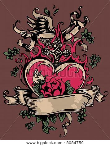 Heart Rose Cross Wing Tattoo Stock Vector 8084759 Bigstock
