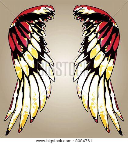 ala tribal colorido brillante