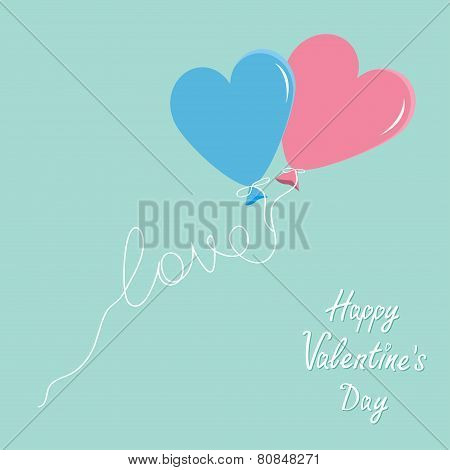 Blue And Pink Balloons In Shape Of Heart With Love Thread Flat Design Happy Valentines Day