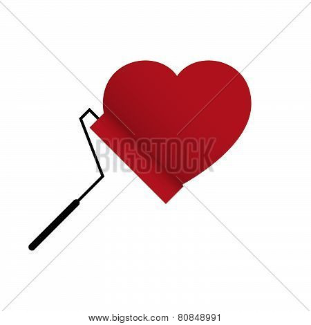 Vector Love Heart With Paint Roller Brush
