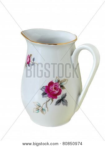 Jug For Milk Or Water With Painting Isolated On White