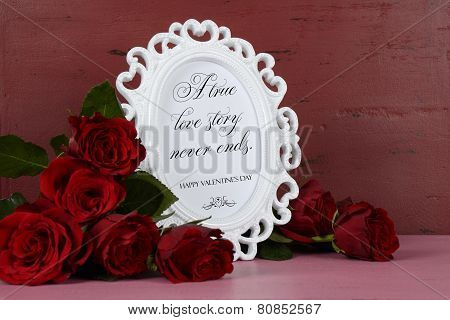 Happy Valentines Day Romantic Vintage Style White Photo Frame Against Red And Pink Rustic Wood Backg