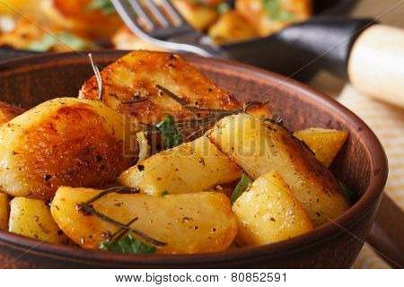 Hot Fried Potatoes In A Bowl Macro Horizontal, Rustic
