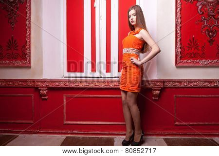 Young Woman Well Dressed In Rich Old Styled Interior
