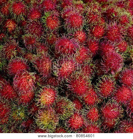 Close Up Rambutan Sweet Delicious Fruit Background
