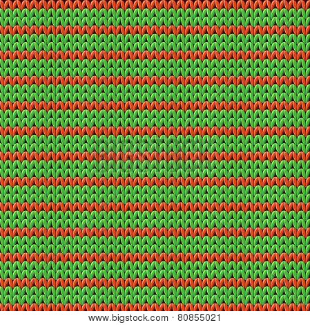 Detailed knitted striped red-and-green pattern