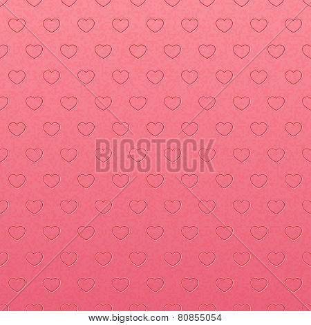 Vintage pink pattern of hearts