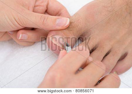 Beautician Trimming Cuticles