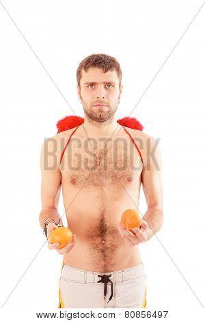 Handsome Man Hold Oranges