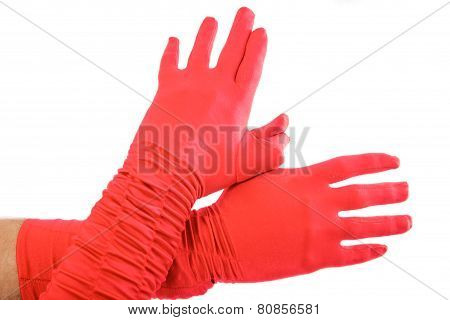 Wing Made By Hands In Red Gloves