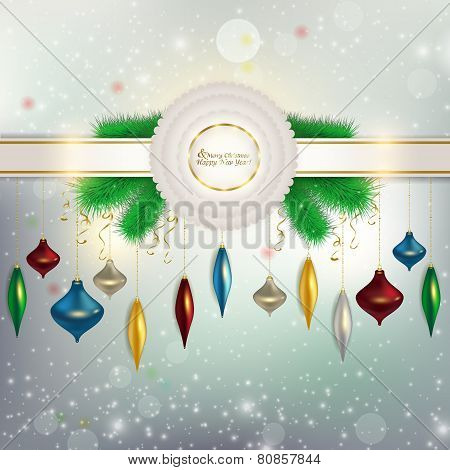 The ribbon with a bow on the background with flying snowflakes h