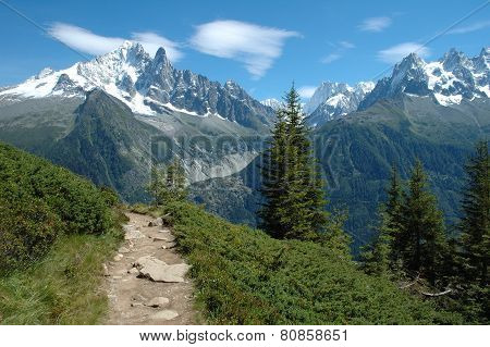 Trail And Peaks Nearby Chamonix In Alps In France