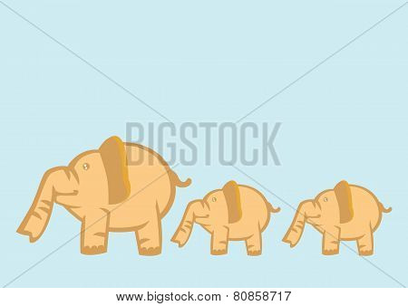 Baby Elephants Following Mother Elephant