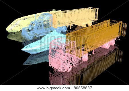 Types of transport. 3d model on black background