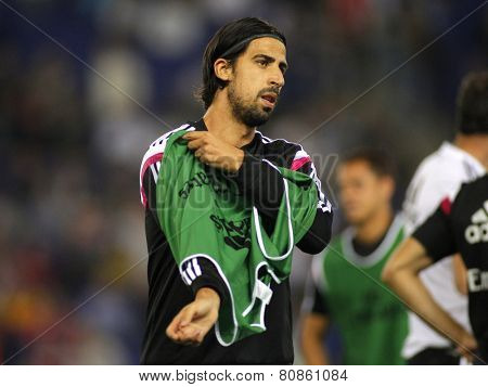 BARCELONA - MAY,11: Sami Khedira of Real Madrid during the Spanish Kings Cup match against UE Cornella at the Estadi Cornella on May 11, 2014 in Barcelona, Spain