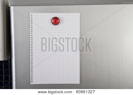 Blank Paper On Refrigerator Door