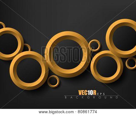 modern overlapping different sizes golden rings, black background elegant design, eps10 vector
