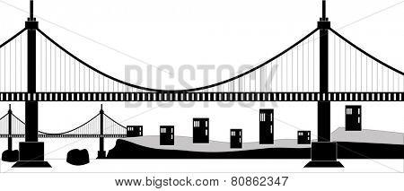Illustration of a suspension cable bridge, black silhouette
