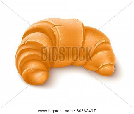 Crispy croissant for breakfast. Eps10 vector illustration. Gradient mesh used. Isolated on white background