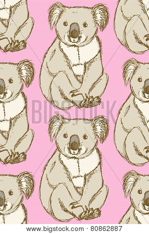 Sketch Cute Koala In Vintage Style