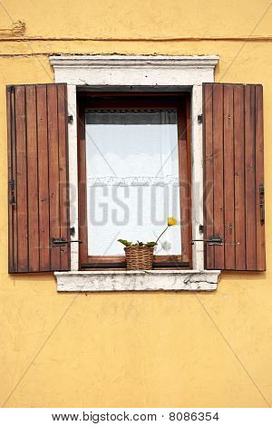Window with open wooden shutters, yellow flower and white curtains.