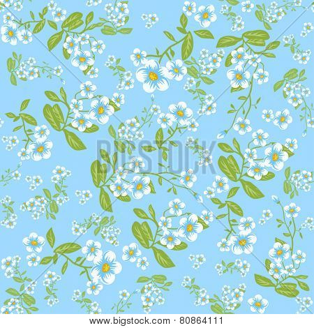 Summer flowers on blue background. Seamless floral pattern.