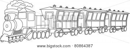 Illustration of retro locomotive with wagons on white background