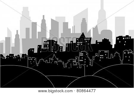 Black and white illustration of a modern city by night
