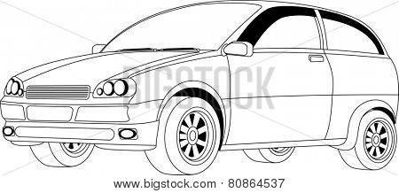 Line art of a compact passenger car