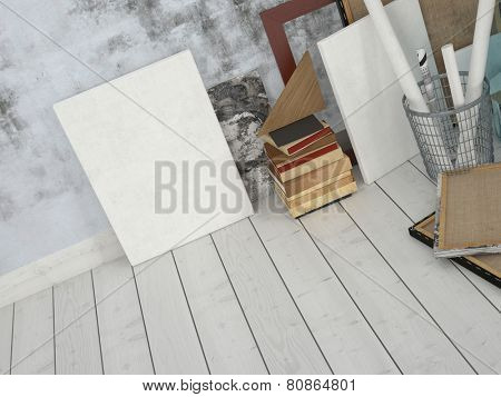 3D Rendering of Frames and Boards Emphasizing Copy Space, Leaning on Unfinished Concrete Wall Inside an Empty Room with White Flooring.