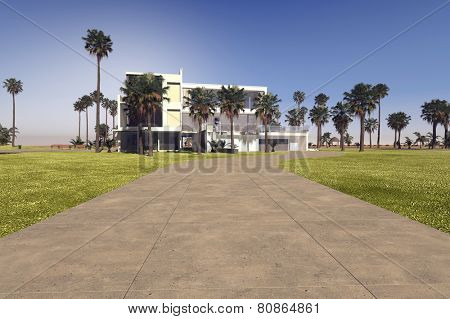 3D Rendering of Entrance driveway to a large modern whitewashed tropical villa on a luxiry estate with large manicured grounds and palm trees