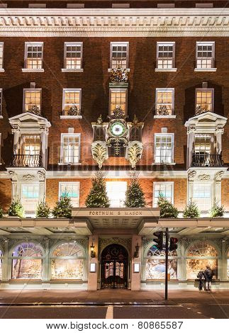London- November 13, 2014: Fortnum And Mason Shops At Picadilly Street, London, Decorated For Christ