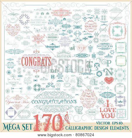 Vector set of 170 calligraphic vintage design elements.