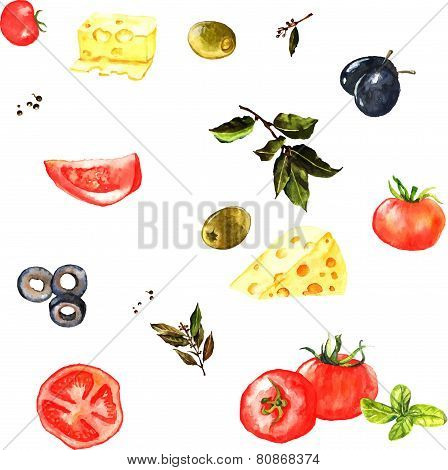 Seamless watercolor pattern with different ingredients: tomato, cheese, laurel, olives