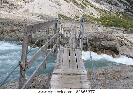 Pendant bridge over the Jostedola river.