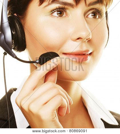 happy smiling cheerful support phone operator
