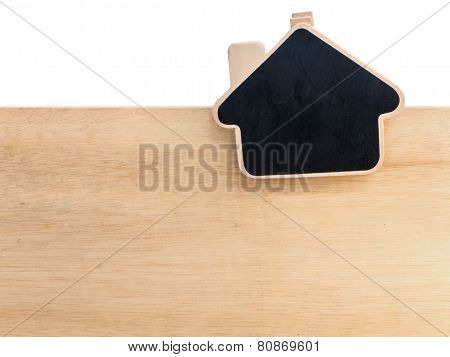 Wooden Clipboard House Shape On Wood Board